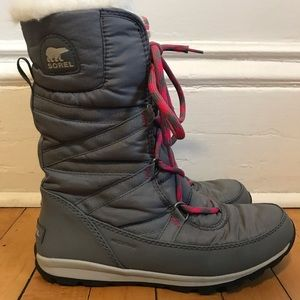 Gray and pink laced Sorel Winter Boots Great Shape